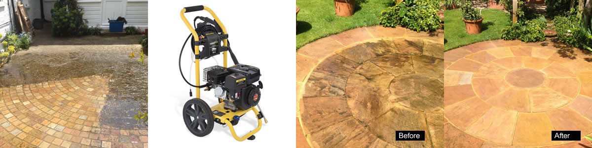 Pressurised powerwash cleaning for the garden with superb results